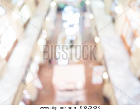 Defocused interior of a large luxury shopping center.