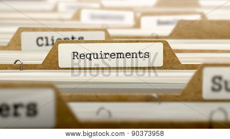 Requirements Concept with Word on Folder.