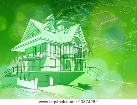 Architecture ecology design: blueprint 3d house, plan & green bokeh abstract light background / vector illustration / eps10