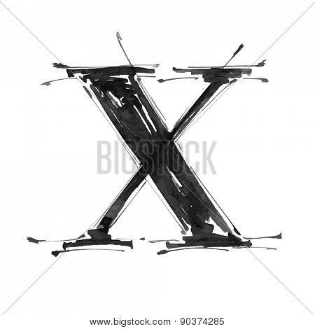 letter X. Alphabet symbol - grunge hand draw paint / vector illustration