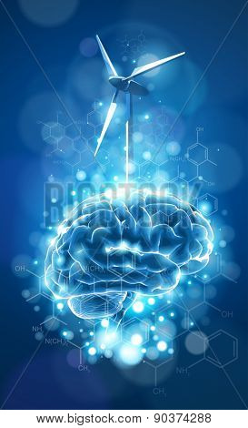 ecology concept: brain & windmill, blue bokeh abstract light background  / vector illustration / eps10