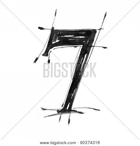 digit 7. Alphabet symbol - grunge hand draw paint / vector illustration