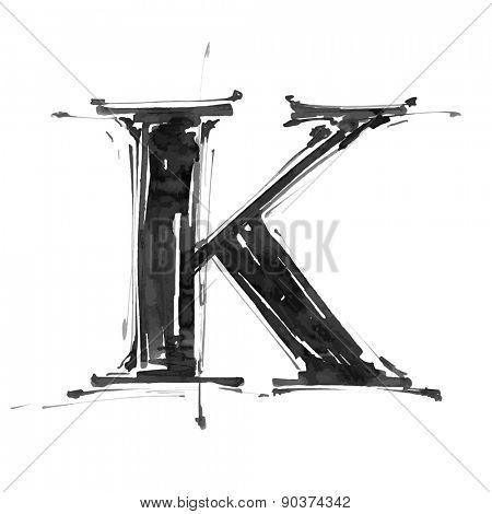letter K. Alphabet symbol - grunge hand draw paint / vector illustration
