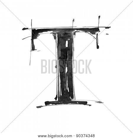letter T. Alphabet symbol - grunge hand draw paint / vector illustration
