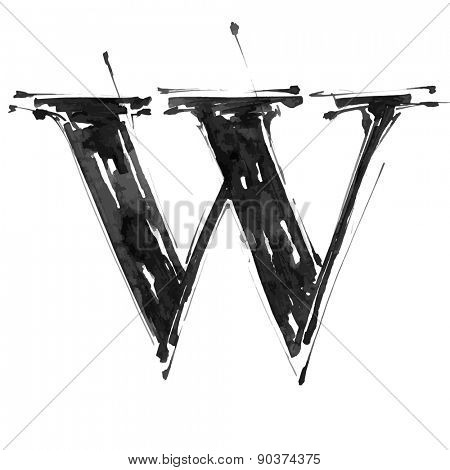 letter W. Alphabet symbol - grunge hand draw paint / vector illustration