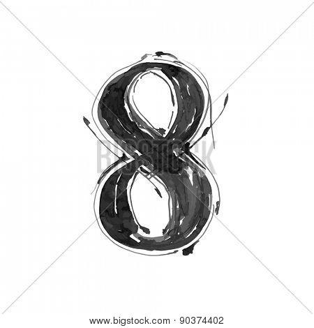 digit 8. Alphabet symbol - grunge hand draw paint / vector illustration