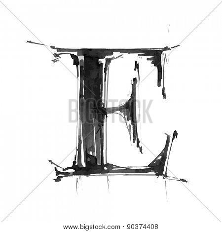 letter E. Alphabet symbol - grunge hand draw paint / vector illustration