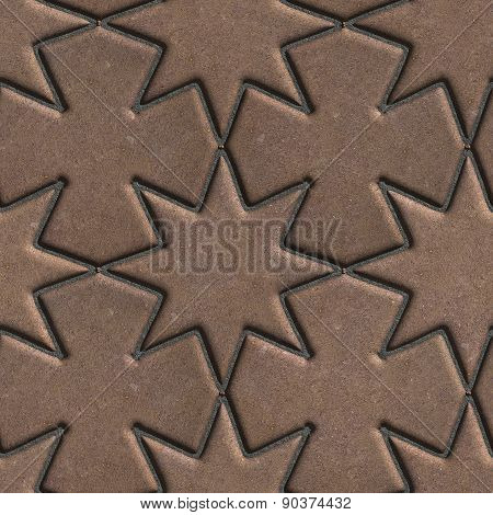 Brown Paving Slabs Laid in the Form of Stars and Crosses.