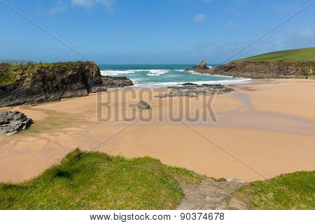 Beach at Trevone Bay North Cornwall England UK near Padstow and Newquay