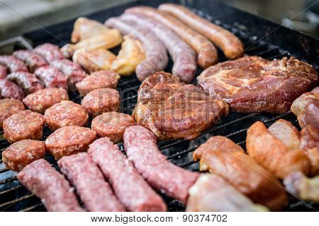 Raw Meat Skewer On Barbecue Grill With Coal