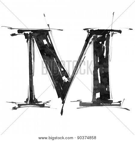 letter M. Alphabet symbol - grunge hand draw paint / vector illustration