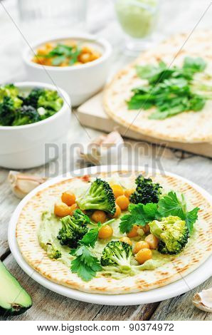 Vegan Tortilla With Roasted Broccoli And Chickpeas And Avocado Sauce