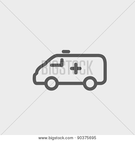 Ambulance car icon thin line for web and mobile, modern minimalistic flat design. Vector dark grey icon on light grey background.