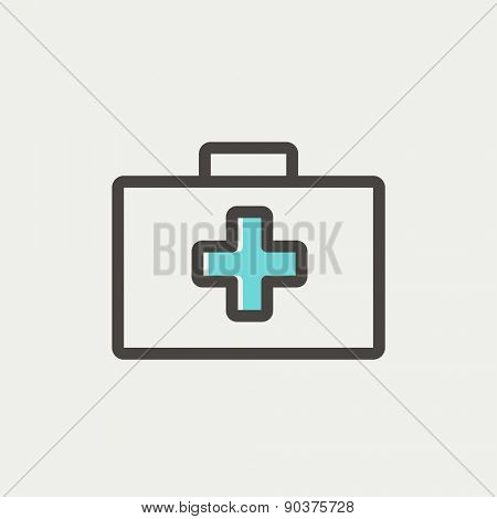 First aid kit icon thin line for web and mobile, modern minimalistic flat design. Vector icon with dark grey outline and offset colour on light grey background.