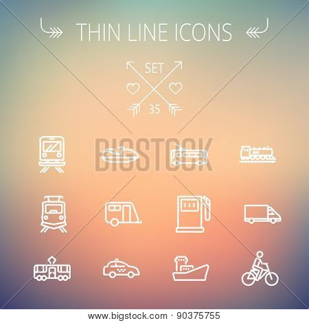 Transportation thin line icon set for web and mobile. Set includes- gas pump, vessel, car, train, bus, boat  icons. Modern minimalistic flat design. Vector white icon on gradient mesh background.
