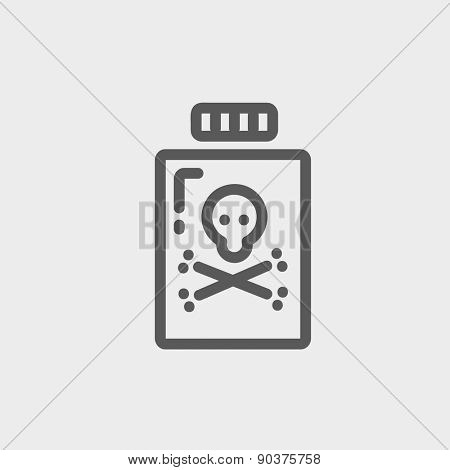 Bottle of poison icon thin line for web and mobile, modern minimalistic flat design. Vector dark grey icon on light grey background.