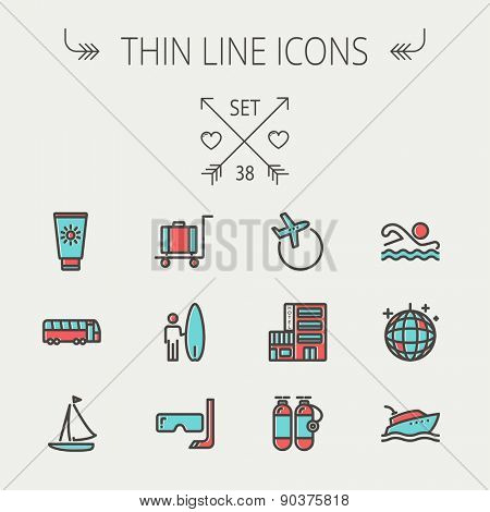 Travel thin line icon set for web and mobile. Set include- yacht, oxygen tank, snorkel with mask, luggage, hotel, sailboat, plane   icons. Modern minimalistic flat design. Vector icon with dark grey