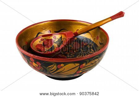 Russian wooden round bowl with a spoon painted Khokhloma.