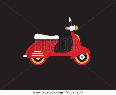 Red Retro Vintage Delivery Motor Bike Icon Isolated On Dark Background