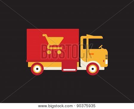Red Retro Vintage Delivery Truck With Cart Icon Isolated On Dark Background
