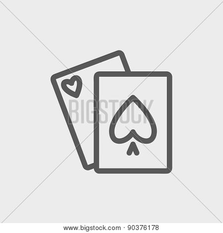 Playing cards icon thin line for web and mobile, modern minimalistic flat design. Vector dark grey icon on light grey background.