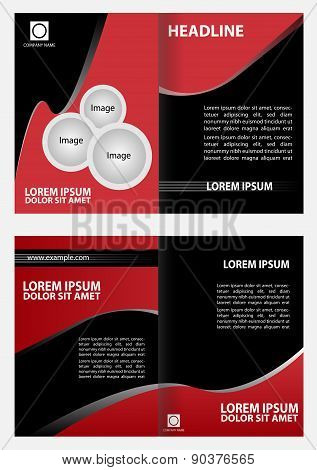 Black and red template for advertising brochure