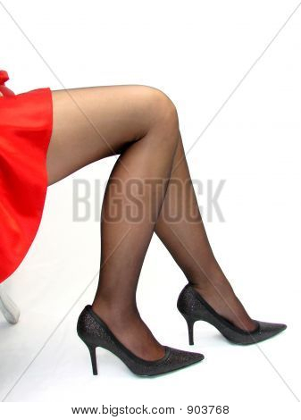 Sexy Legs In A Red Skirt