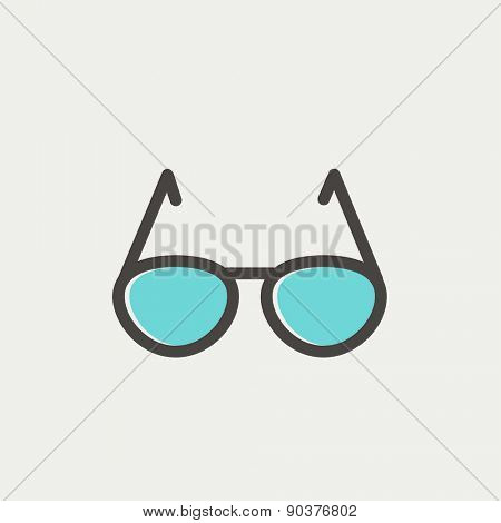 Sunglasses icon thin line for web and mobile, modern minimalistic flat design. Vector icon with dark grey outline and offset colour on light grey background.