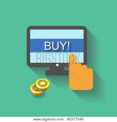 Flat  business concept Online shopping hand  buy button on screen for website and promotion banners.