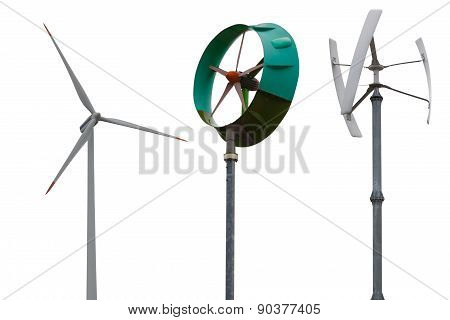 Small wind turbines. Isolated on white background