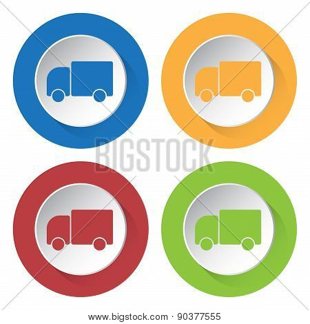 Set Of Four Icons With Lorry Car
