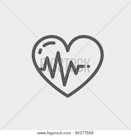 Heart with cardiogramicon thin line for web and mobile, modern minimalistic flat design. Vector dark grey icon on light grey background.