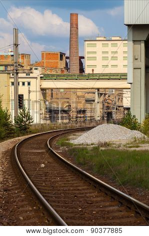 Cement factory,railroad tracks, Czech Republic