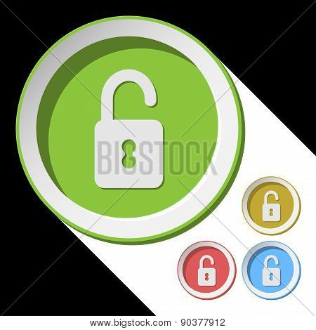 Color Icons With Open Padlock