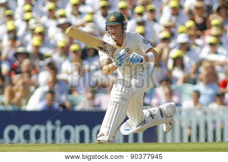 LONDON, ENGLAND - August 21: Michael Clarke batting during day one of the 5th Investec Ashes cricket match between England and Australia played at The Kia Oval Cricket Ground