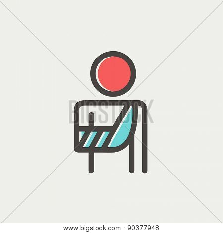 Injured man in bandages icon thin line for web and mobile, modern minimalistic flat design. Vector icon with dark grey outline and offset colour on light grey background.