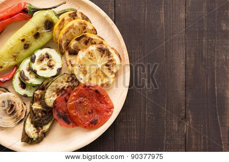Organic Grilled Vegetables With Pappers On Wooden Background
