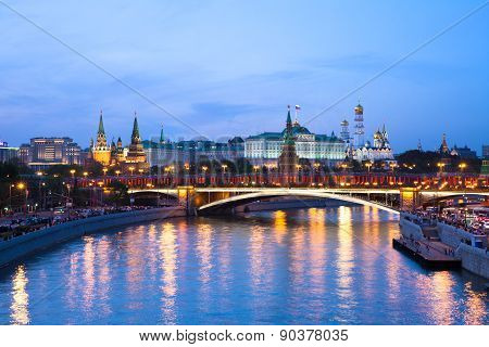 Dusk view over Moscow Kremlin