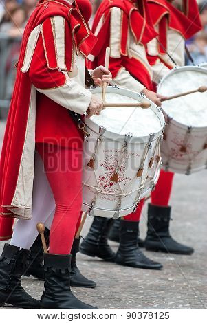 Drummer In Medieval Parade