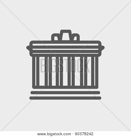 National Library icon thin line for web and mobile, modern minimalistic flat design. Vector dark grey icon on light grey background.