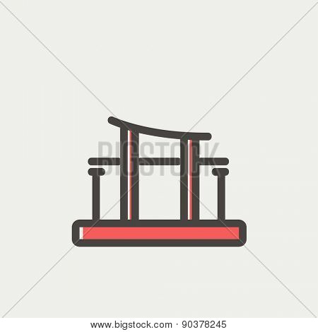 Famous gate icon thin line for web and mobile, modern minimalistic flat design. Vector icon with dark grey outline and offset colour on light grey background.