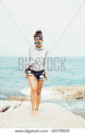 Outdoor Summer Fashion Hipster Sexy Hot Sensual Portrait