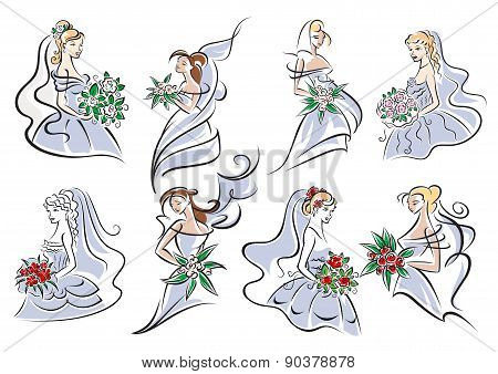 Brides in blue dress holding bouquet of flowers