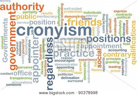 Background concept wordcloud illustration of cronyism