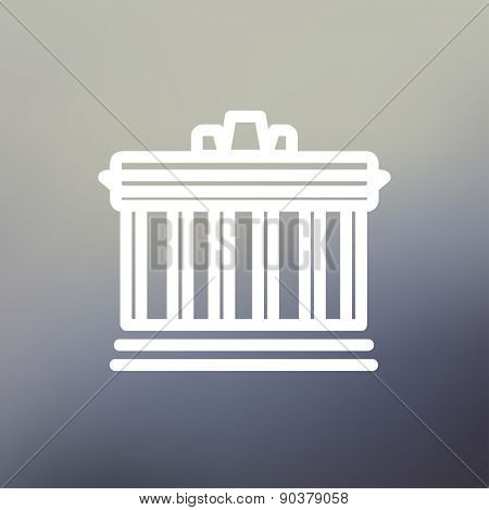 National Library icon thin line for web and mobile, modern minimalistic flat design. Vector white icon on gradient mesh background.