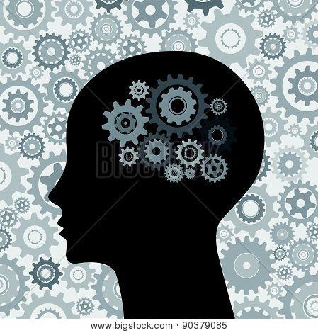 Human brain gears background