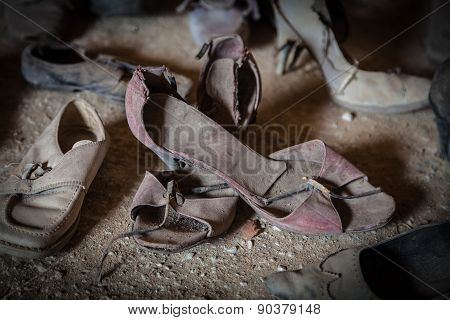 Old Women's Shoes Found After The Earthquake