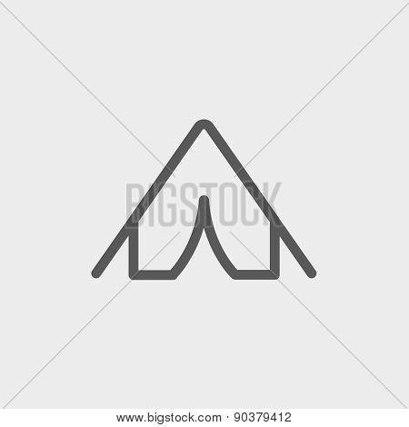 Tent icon thin line for web and mobile, modern minimalistic flat design. Vector dark grey icon on light grey background.