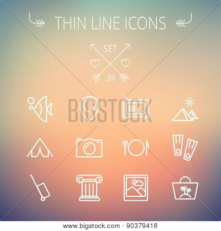 Travel thin line icon set for web and mobile. Set includes- camera wall, pin location, flioppers, fish, bag, table setting -icons. Modern minimalistic flat design. Vector white icon on gradient mesh