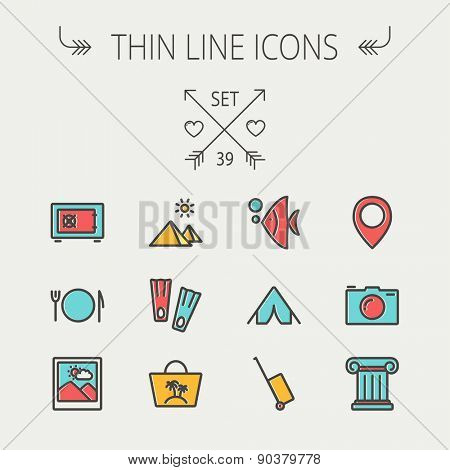 Travel thin line icon set for web and mobile. Set include- camera wall, pin location, flioppers, fish, bag, table setting icons. Modern minimalistic flat design. Vector icon with dark grey outline and